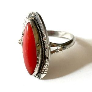 Antique Art Deco Coral Marcasite Ring 800 Silver